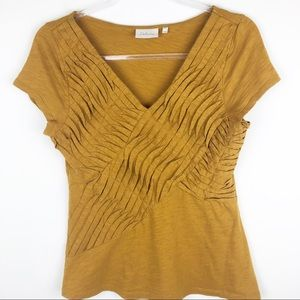 Deletta- Anthro mustard yellow front design top M